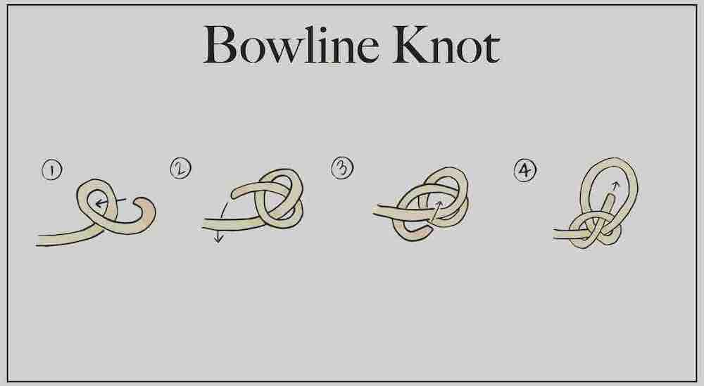 A step-by-step guide for tying a bowline knot.