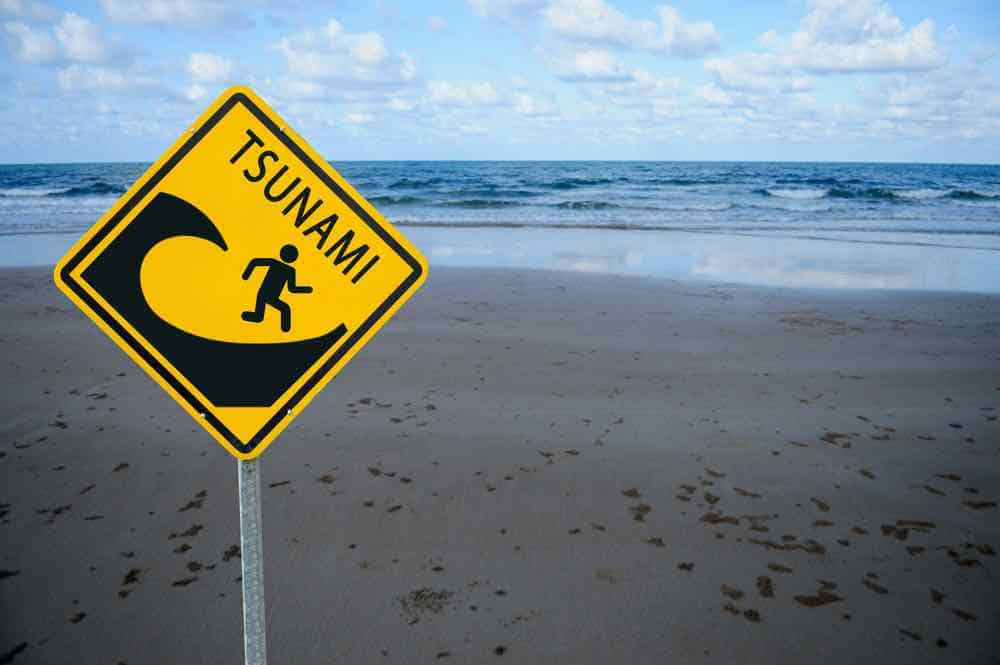Posted signs warn of tsunami danger zones.