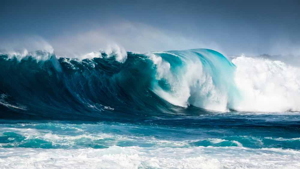 Tsunami waves stay small until they reach shallow waters.