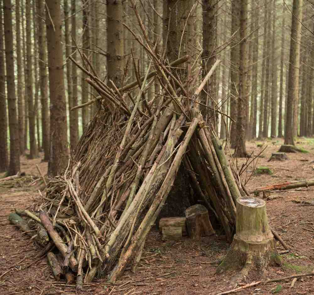 The A-frame is sturdier and more reliable than a lean-to, but doesn't retain body heat as well as a tipi.