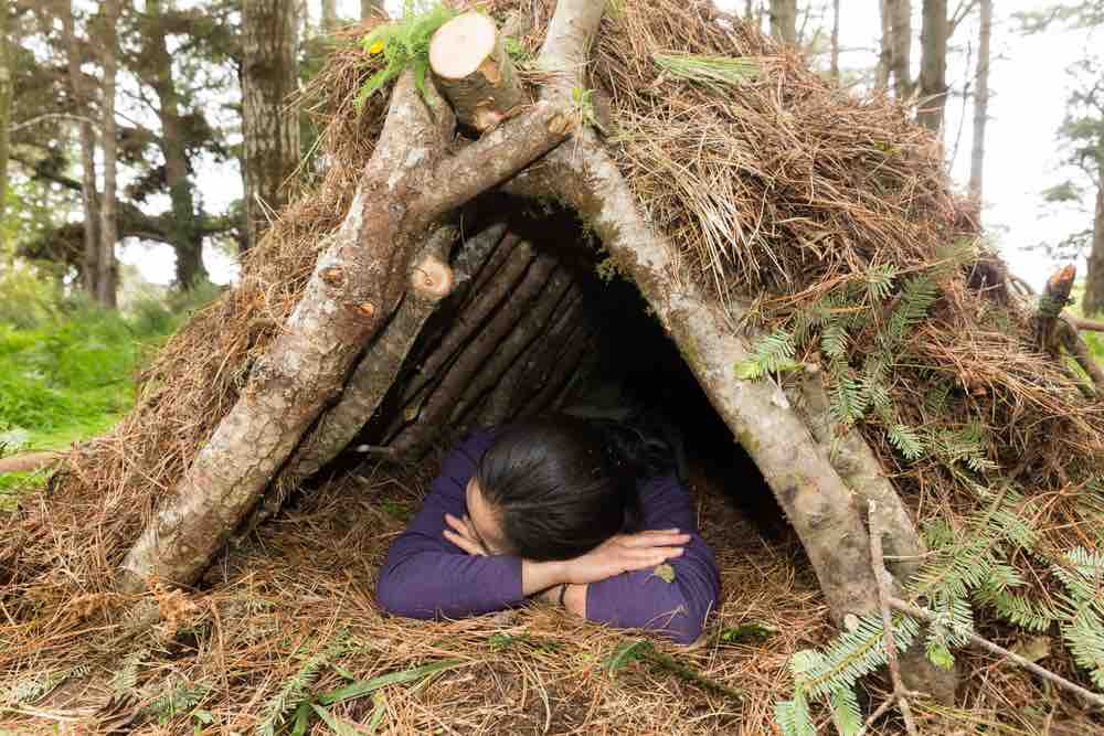 By insulating the ground, your a-frame shelter will become a cozy, warm place to spend the night.