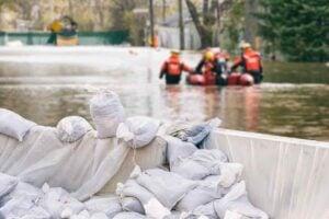 Sandbags During a Flood