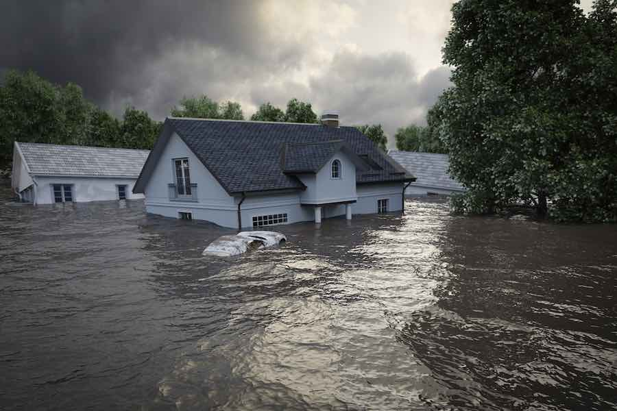 flooding houses with rising water