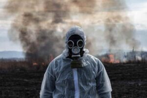 Man in Gas Mask Nuclear Fallout