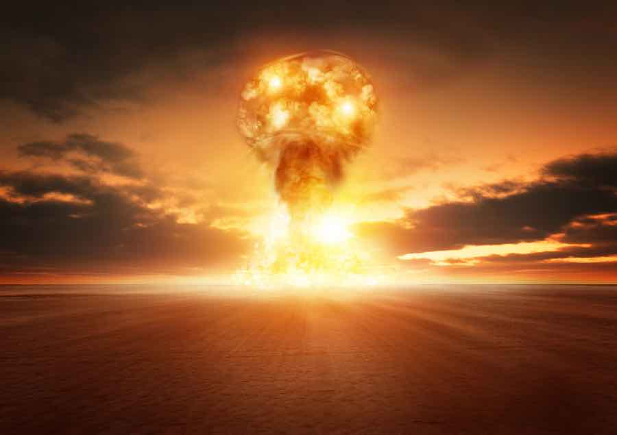 nuclear bomb explosion in the desert