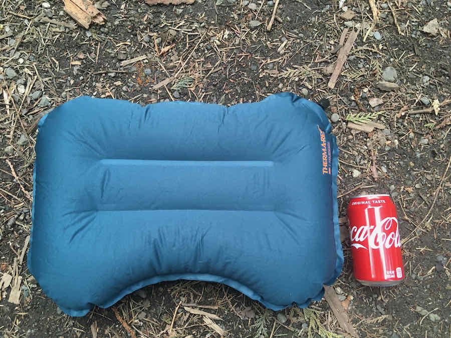 Therm-a-Rest Air Head Lite Pillow Next to 12oz Coke Can for Size