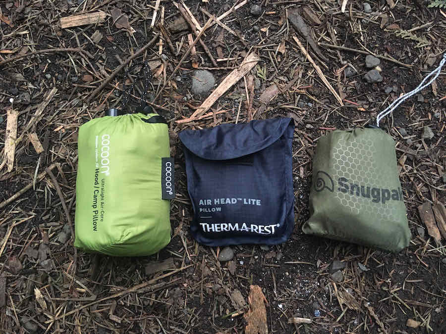 Therm-a-Rest Air Head Lite with Snugpak Basecamp Pillow and Cocoon Camp Pillow All in Stuff Sacks for Size Comparison