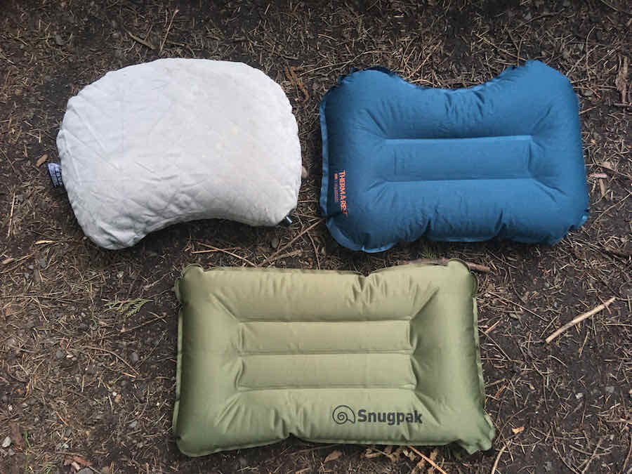 Cocoon Camp Pillow with Therm-a-Rest Air Pillow and Snugpak Air Pillow