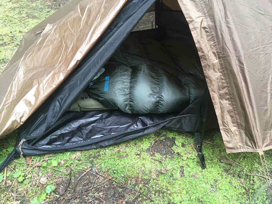 Therm-a-Rest Sleeping Bag in Snugpak Ionosphere Tent