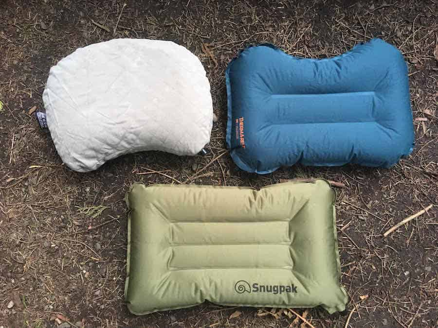 Snugpak Air Pillow with Therm-a-Rest Pillow and Cocoon Camp Pillow