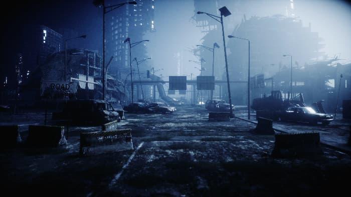 A nighttime city disaster scene.