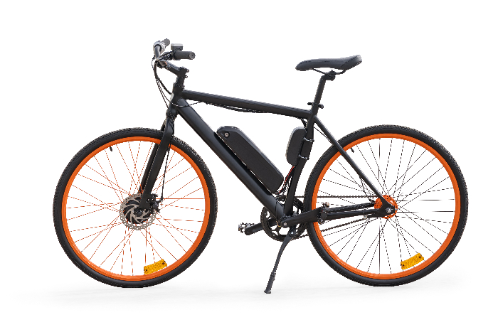 A black E-bike against a white background.  An E-bike is a practical bug out bicycle option for people who aren't regular cyclists.